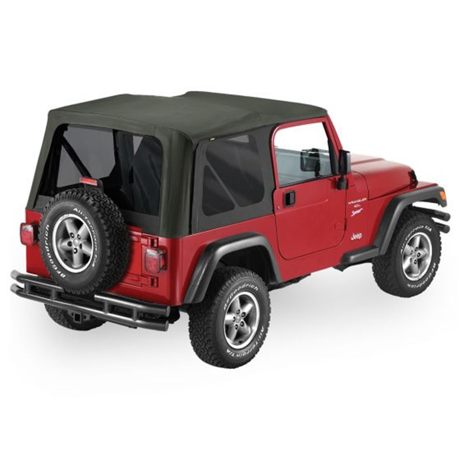 Pavement Ends by Bestop 51148-15 Black Denim Replay Replacement Soft Top Tinted Windows-No door skins included-No frame hardware included 1997-2002 Jeep Wrangler by Pavement Ends