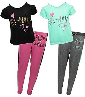 dELiA*s Girls 4-Piece Varsity Pajama Sleepwear Set (2 Full Sets)