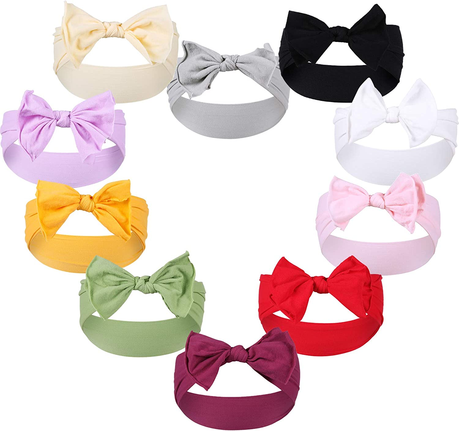 Gacimy Baby Girl Headbands Knotted Hair Bows Nylon Elastic Turban Headwrap Accessories