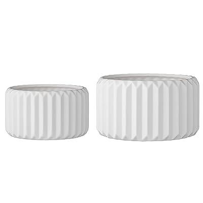 Bloomingville A75210002 Set of 2 Round White Fluted Stoneware Flower Pots : Garden & Outdoor