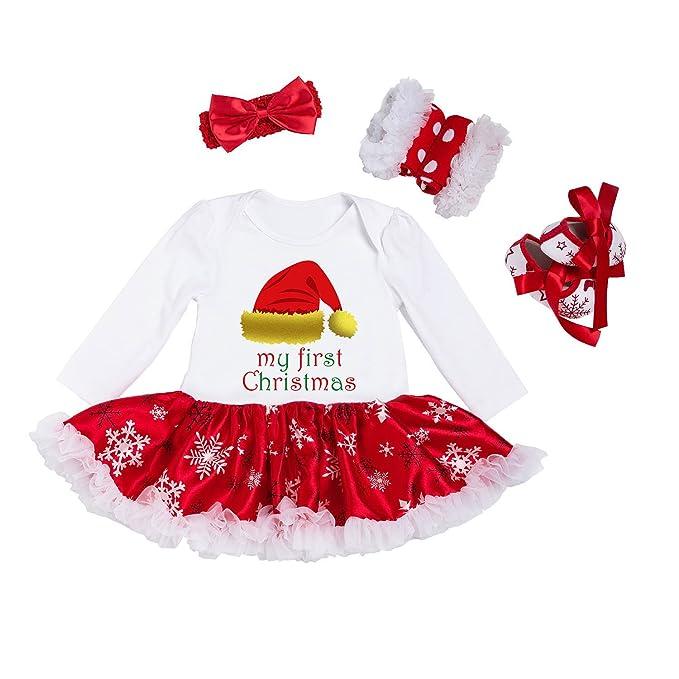 BabyPreg® Niñas bebés Mi Primera Navidad Traje de Santa del Partido del Vestido 4PCS (S/3-6 Mes, Tiene)