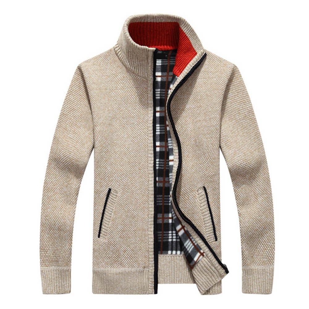tueselesoleil Winter Men's Cardigan Sweater Solid Color Thick Plus Size Coat (Beige) by tueselesoleil (Image #1)