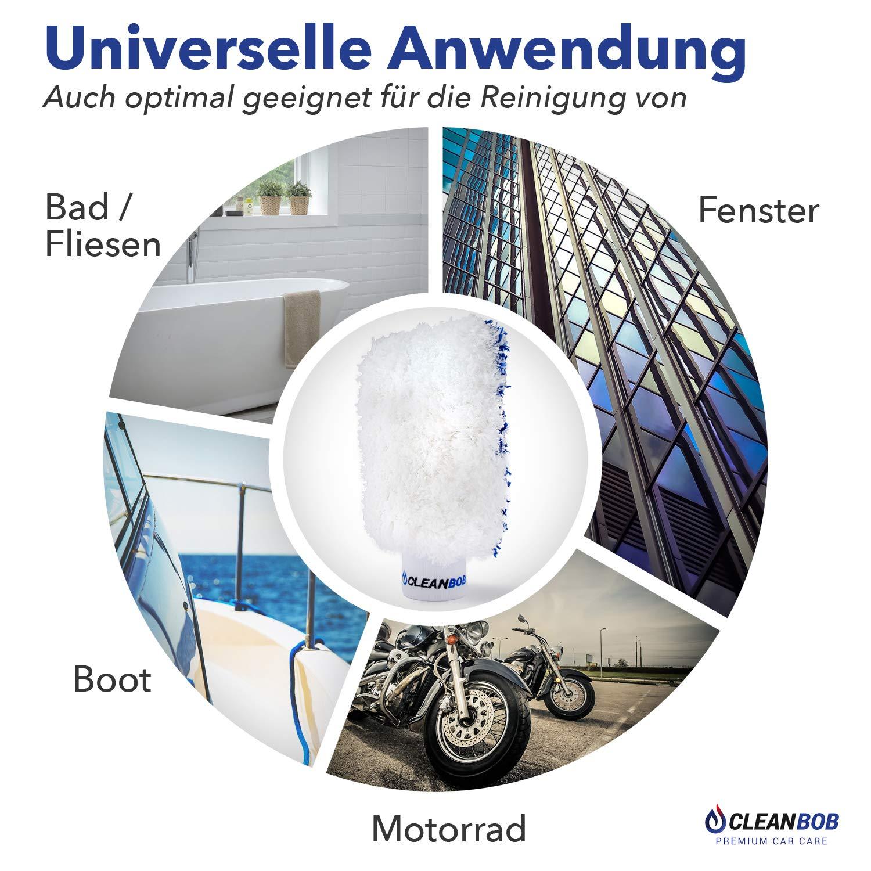 blau//Weiss Microfaser Autowaschhandschuh f/ür die Profi Autoreinigung CLEANBOB/® Premium Auto Waschhandschuh mit sanfter Mikrofaser und extremer Saugkraft Autowaschschwamm Felgenhandschuh