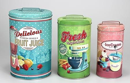 Bote para galletas con diseño caja de lata redonda conjunto de 3, con asa, chapa, Vintage, color turquesa, verde, rosa: Amazon.es: Hogar