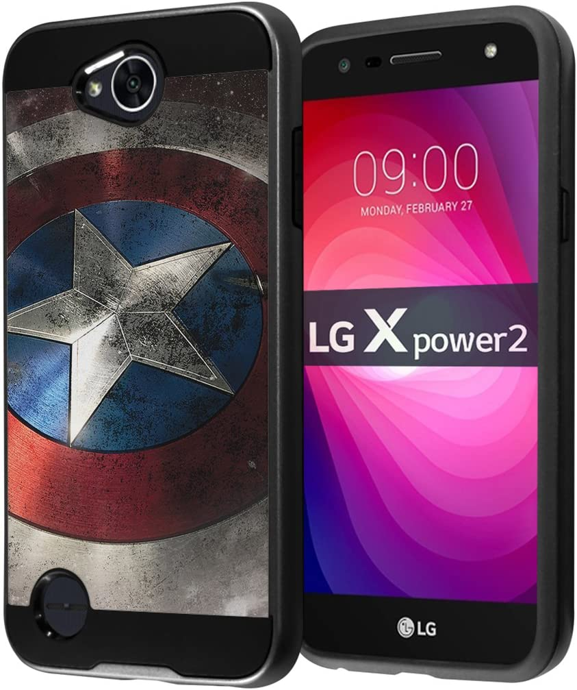 for LG X Power 2 Case, LG Fiesta LTE Case, LG X Charge Case, LG K10 Power Case, LG LV7 Case, Capsule-Case Hybrid Fusion Dual Layer Slick Armor Case (Black) - (Rock Star)