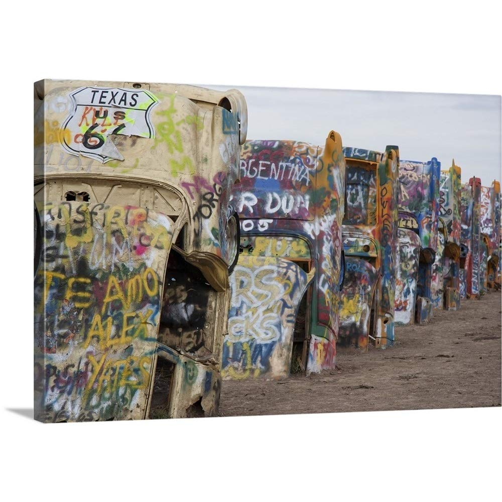 """GREATBIGCANVAS Gallery-Wrapped Canvas Entitled Cadillac Ranch Along Route 66, Texas by 18""""x12"""""""