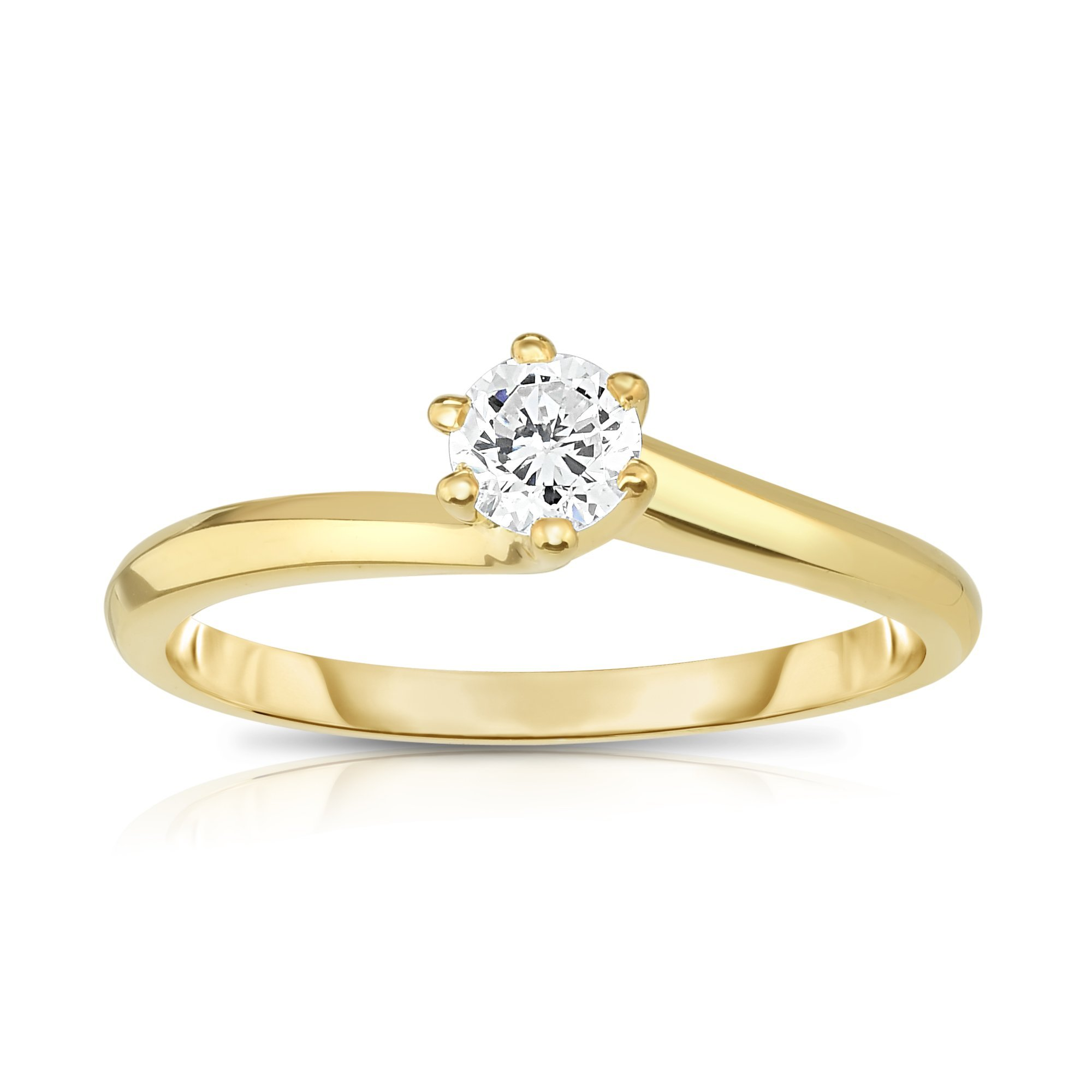 Noray Designs 14K Yellow Gold Diamond (0.25 Ct, SI2-I1 Clarity, G-H Color) 6-Prong Solitaire Ring