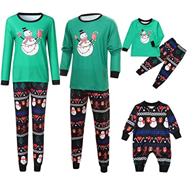 Family Homewear Christmas Pajamas Xmas Pajamas Sets Cartoon Snowman  Sleepwear Sets Kids Boys Nightwear PJS Set dbca92e83