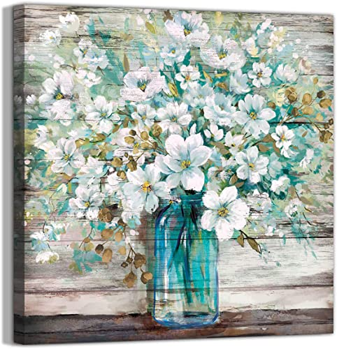 Country Style Canvas Wall Art Teal Blue Mason Bottle White Flower Rustic Wall Decor Art Hanging