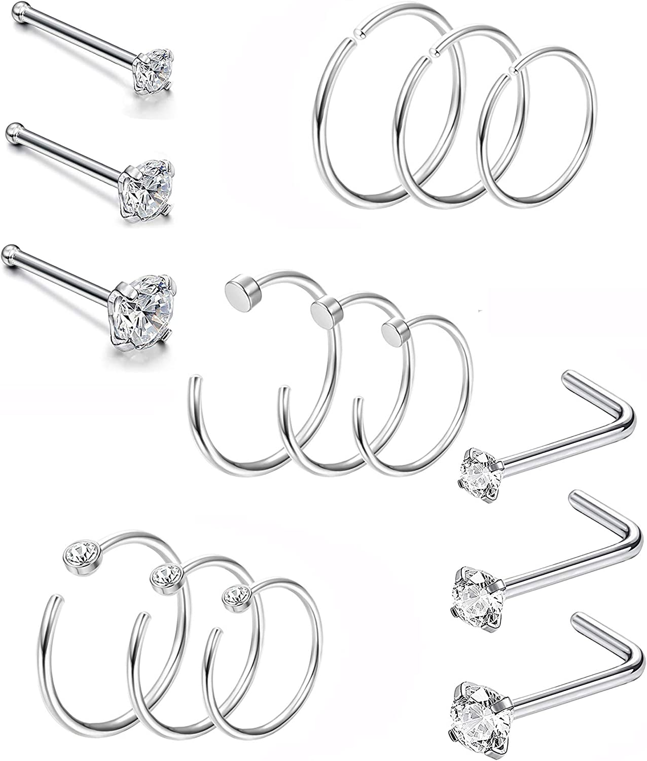 E062 2PCS Fashion Surgical Steel Stealth Stud Earrings Nose Stud Lover gift