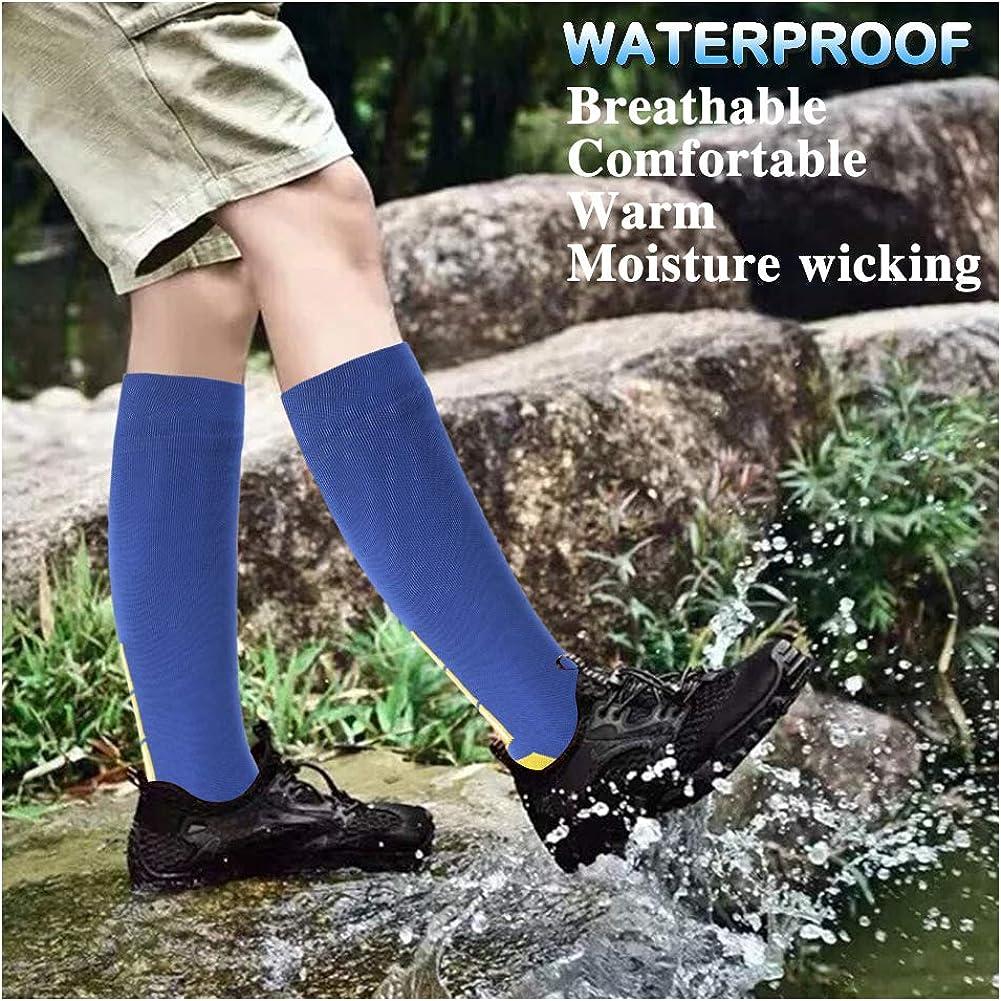 SuMade 100/% Waterproof Socks Summer Breathable Knee High Cushioned Wicking Cycling Hiking Camping Fishing Socks 1 Pair