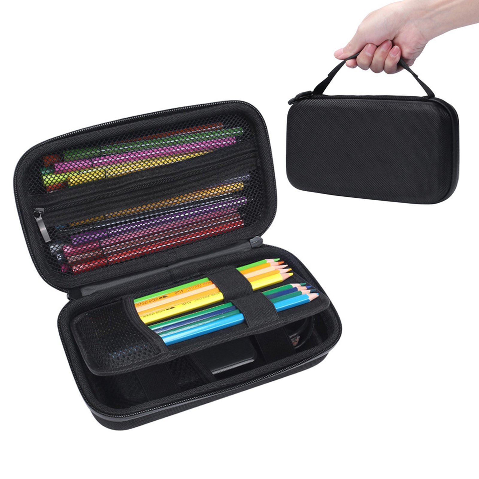 XBERSTAR Semi Hard EVA Large Pencil Case Travel Carrying Bag Protective Pouch Box Storage Colored Pencils Markers WD Hard Drive TI Graphing Calculator