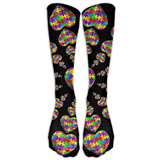 aedc95070784 Image Unavailable. Image not available for. Color: Autism Awareness Puzzle  Heart Casual Unisex Sock Knee Long High Socks Sport Athletic Crew ...