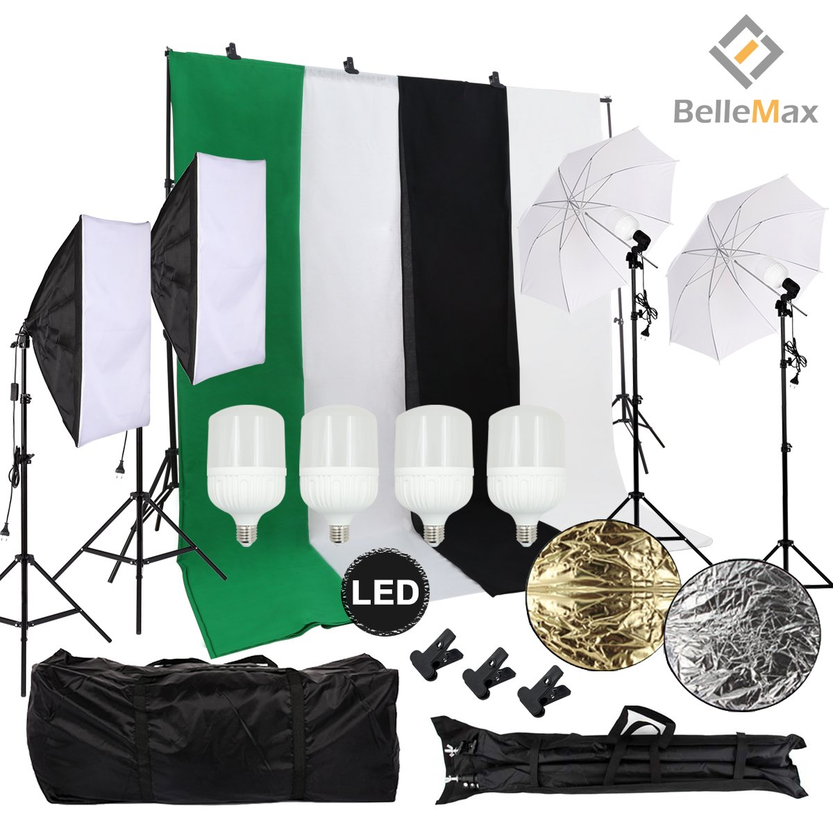 Belle Max Photography Lighting Kit (2 Softbox & 2 Umbrellas) with 4 pcs 28W LED Bulbs, Photo Studio with Adjustable Background Support System with 4 Backdrop(Black/2xWhite/Green), Reflector and bag. by Belle Max