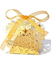 50 Pack Laser Cut Butterfly Wedding Favour Box With Organza Ribbon Birthday Party Candy Boxes (Gold)