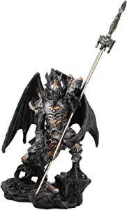 Ebros Gift Faux Stone Elemental Ghost Dragon with Battle Armor and Long Sword Letter Opener Statue Home and Office Table Desktop Decorative Sculpture Medieval Renaissance Dungeons and Dragons Fantasy