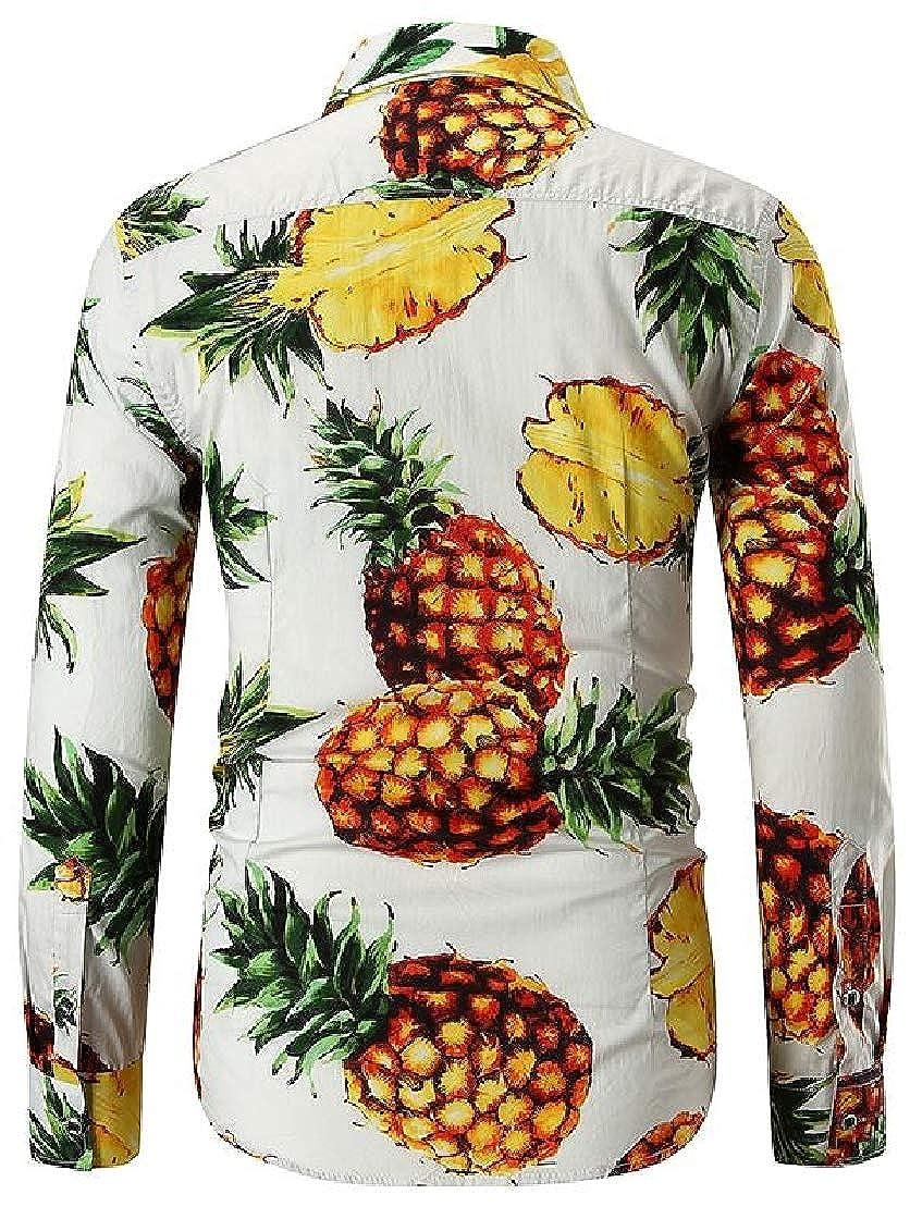 Etecredpow Mens Long Sleeve Pineapple Print Casual Button Down Shirts