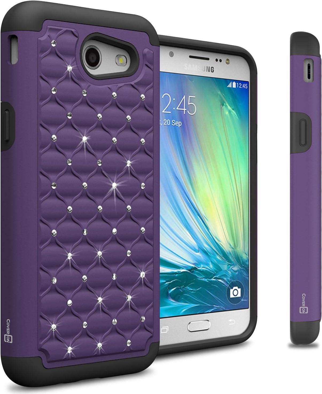 Galaxy J3 Luna Pro Case, Galaxy J3 Eclipse Case, Galaxy J3 Mission Case, Galaxy Sol 2 Case, Galaxy Express Prime 2 Case, CoverON Aurora Series Bling Diamond Hybrid Protective Case -Purple