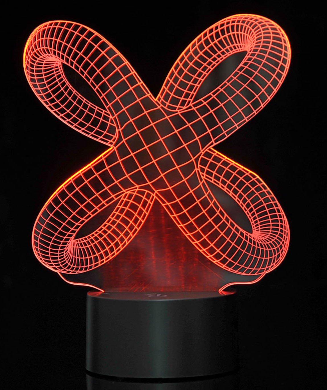 PowerTRC 3D LED Optical Illusion Crisscross Rings Night Light Multi-Colored USB Powered PowerTRC®