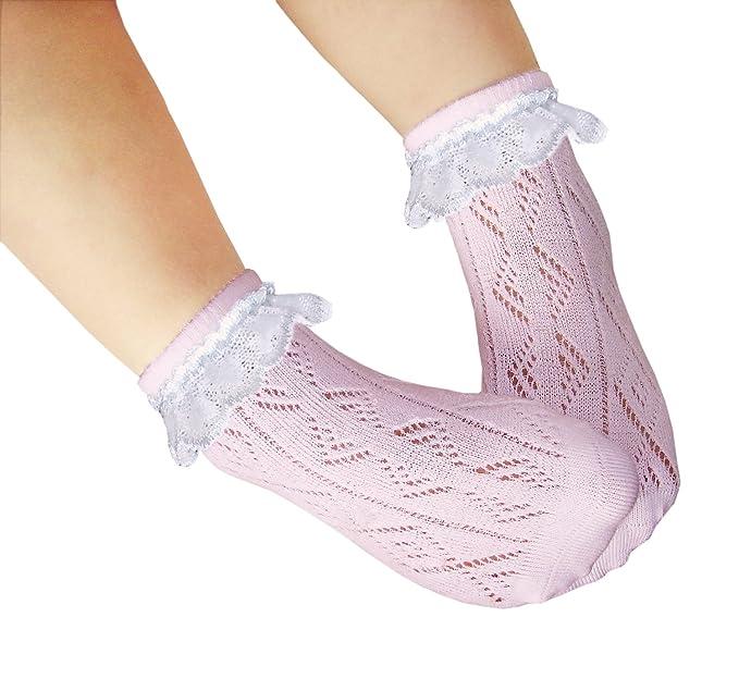 JHosiery Niñas calcetines sin costuras pointelle con encaje para pies sensibles (23-26,