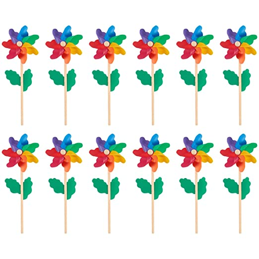 Pinwheels - Pack of 12, Colorful Pinwheels - Value Pack - Suitable for Garden, Party, Outdoor, Yard, Decoration | Multicolored, 4.5 x 11.2 x 2.1 Inches