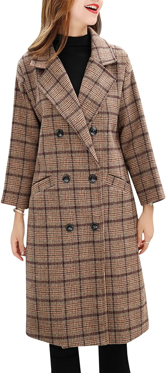 1930s Style Coats, Jackets | Art Deco Outerwear Tanming Womens Double Breasted Long Plaid Wool Blend Pea Coat Outerwear $49.99 AT vintagedancer.com