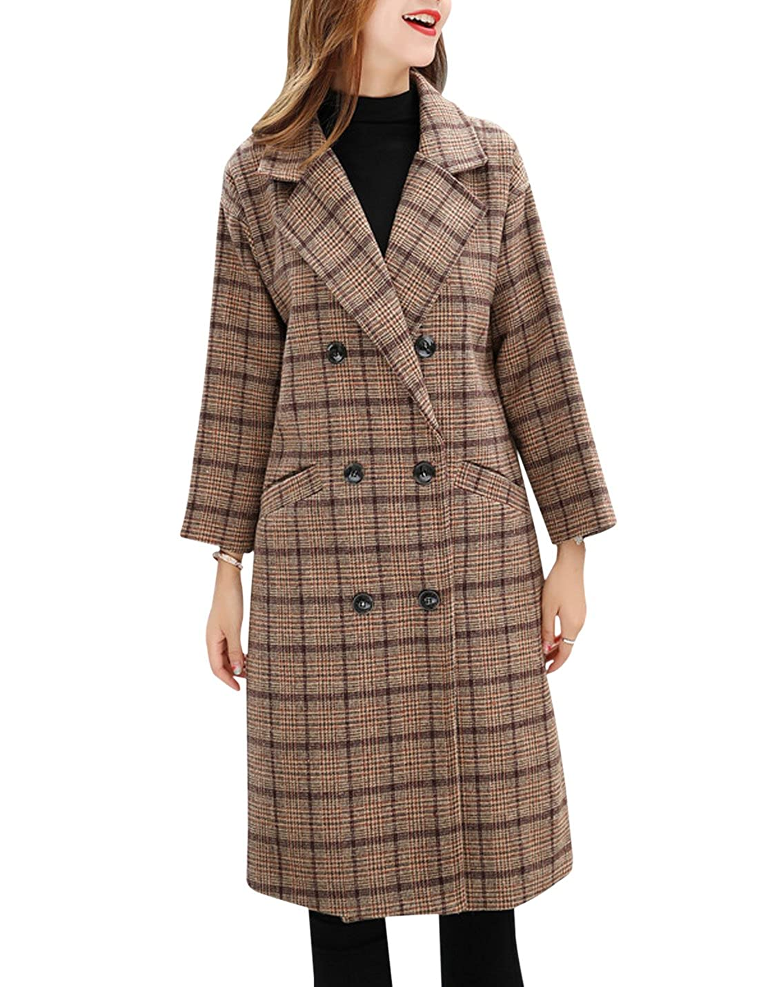 1940s Coats & Jackets Fashion History Tanming Womens Double Breasted Long Plaid Wool Blend Pea Coat Outerwear $49.99 AT vintagedancer.com