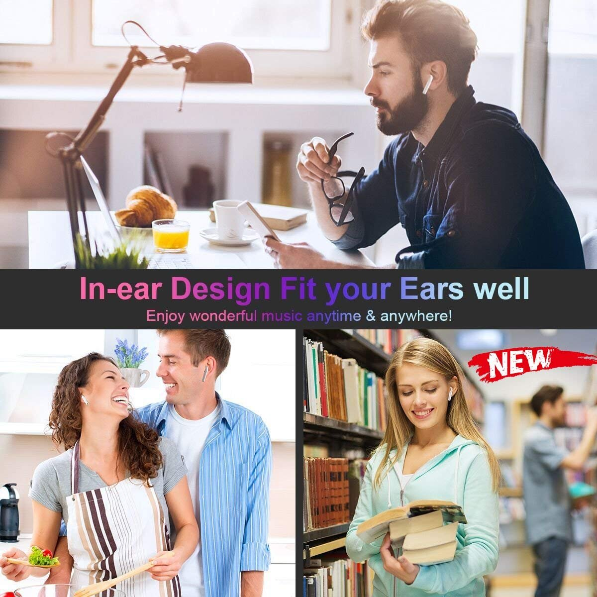 HD Bluetooth Headset - Wireless Headphones Women's Wireless Headphones Men - Sports in-Ear Headphones Wireless Headphones Stereo Headphones Sports Headphones with Microphone Mini in-Ear Headphones by jieanruituo (Image #5)