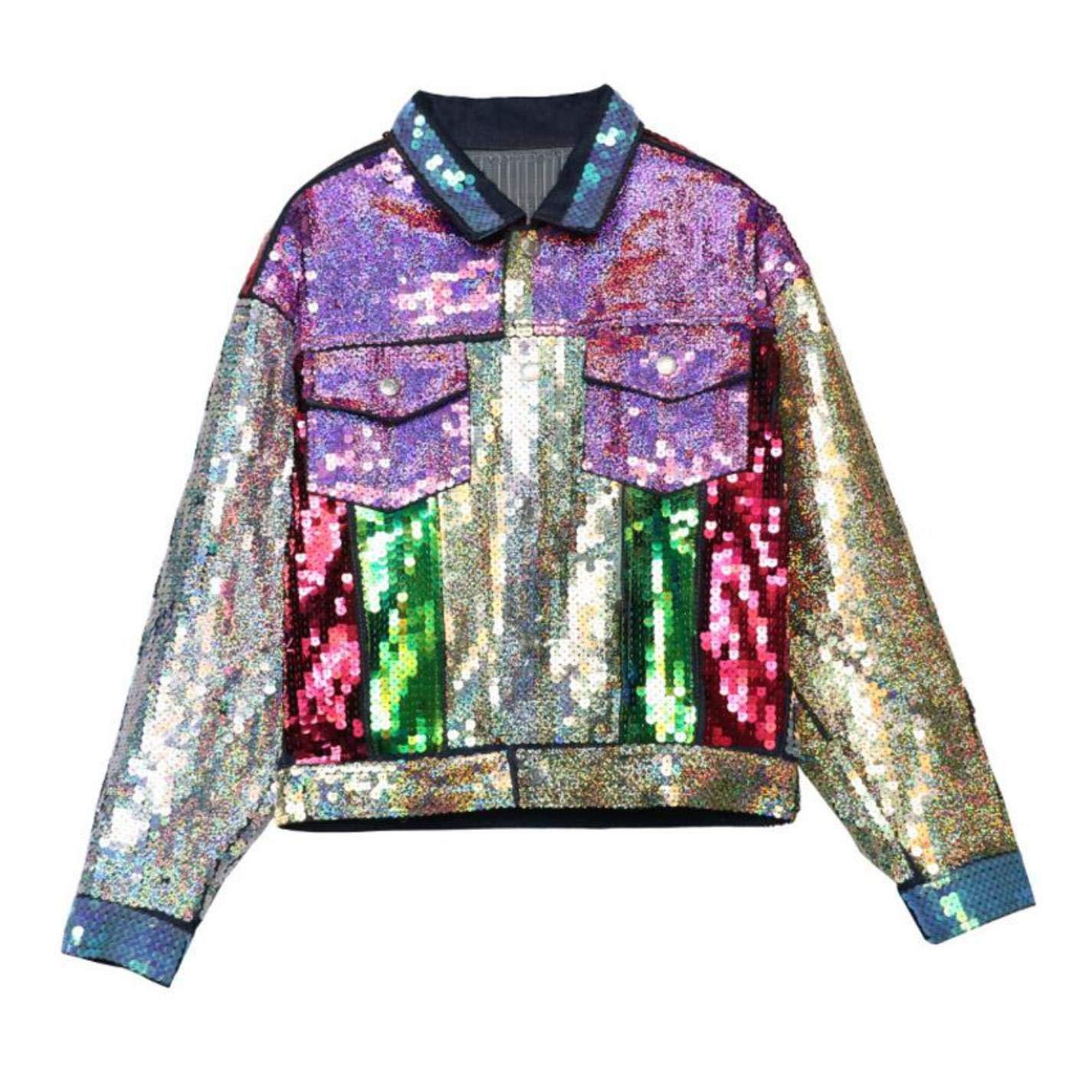 CHANGYUGE Autumn Thai Tide Brand colord Sequins Denim Jacket