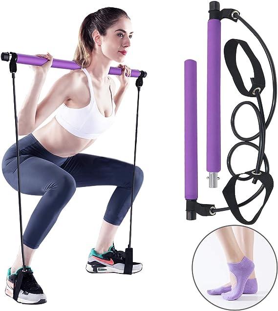 Pilates Bar Kit Portable Resistance Stick Exercise Yoga Fitness Gym Workout Set