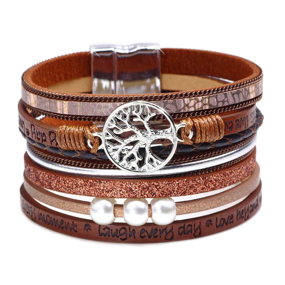 DESIMTION Graduation Gifts for Her Compass Inspirational Leather Wrap Bracelet Perfect College High School Present for Girls Boys Granddaughte