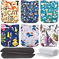 Lilbit Baby 6 PCS Pack Printed Washable One Size Cloth Diaper Nappy + 6 PCS Bamboo Charcoal Inserts