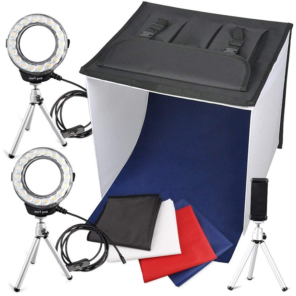 Portable Photo Studio Box, FOSITAN 16 x 16 inches Foldable Table Top Photography Lighting Light Box Shooting Tent (900lm X 2, 7W LED Ring Head X 2, Tripod X 3, Backdrop X 4, 3200K-9000K, K40) by FOSITAN