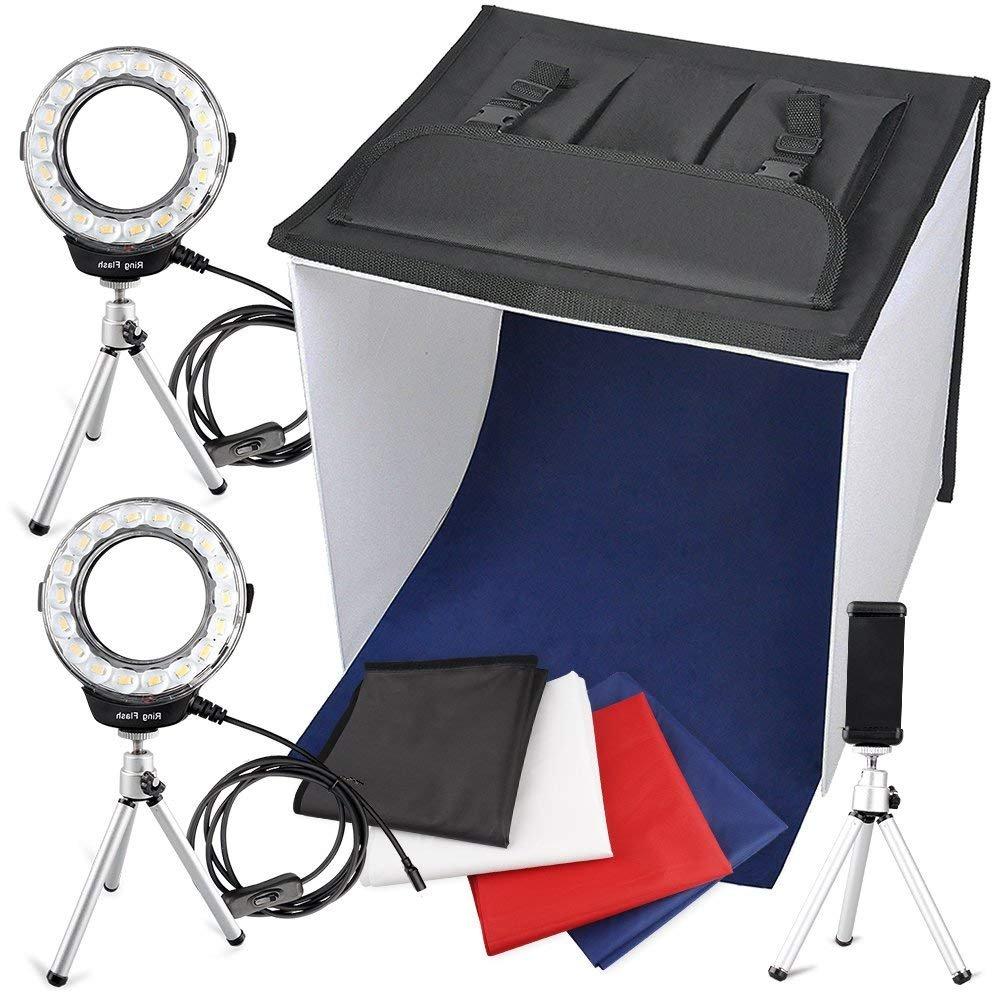 Portable Photo Studio Box, FOSITAN 16 x 16 inches Foldable Table Top PhotographyLighting Light Box Shooting Tent (900lm X 2, 7W LED Ring Head X 2, Tripod X 3, Backdrop X 4, 3200K-9000K, K40) by FOSITAN