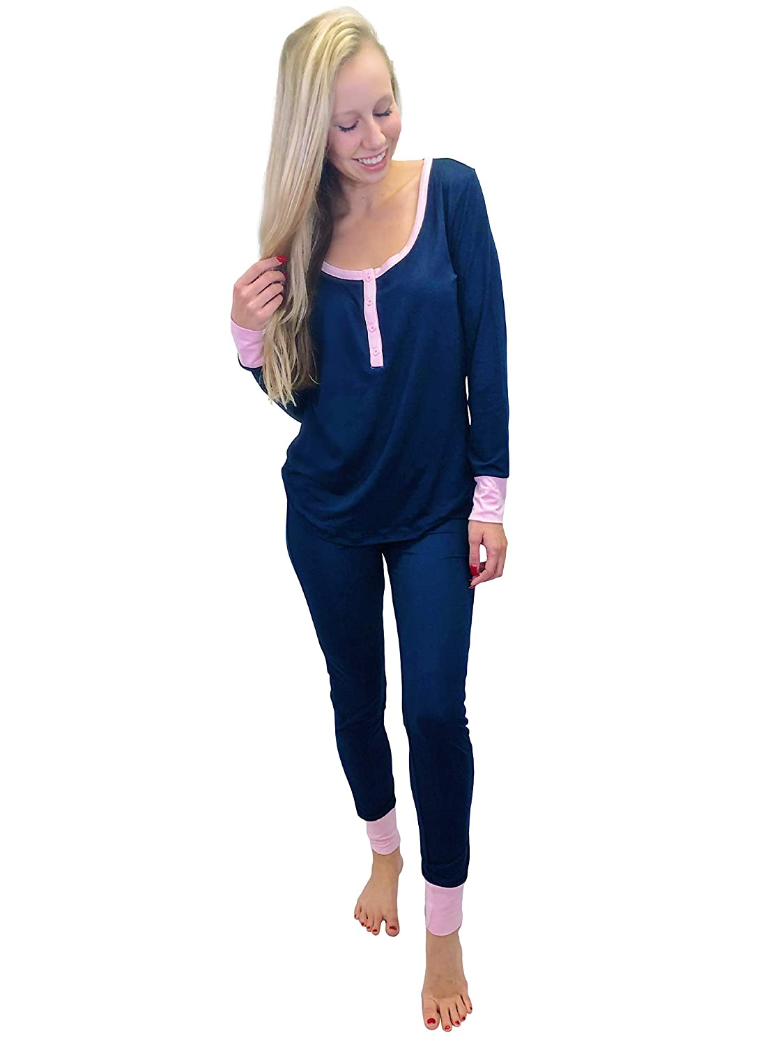 Jordann Jammies Navy and Pink Women's Pajama Set   Super Soft and Slimming
