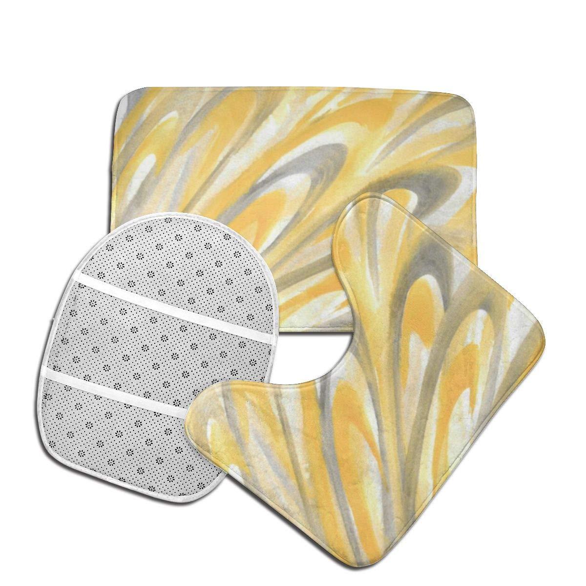 Set di 3 tappetini da Bagno con Petali Gialli e Grigi Meiya Combinazione Perfetta e Comfort Morbidi tappeti da Doccia Tappetino Sagomato e Copri WC