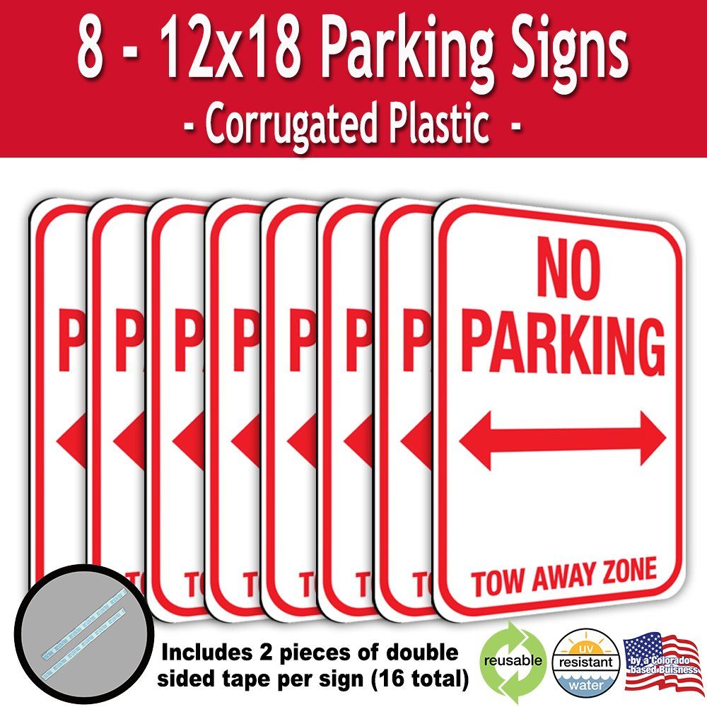 No Parking Tow Away Zone Corrugated Plastic Sign with Double Sided Tape (8)