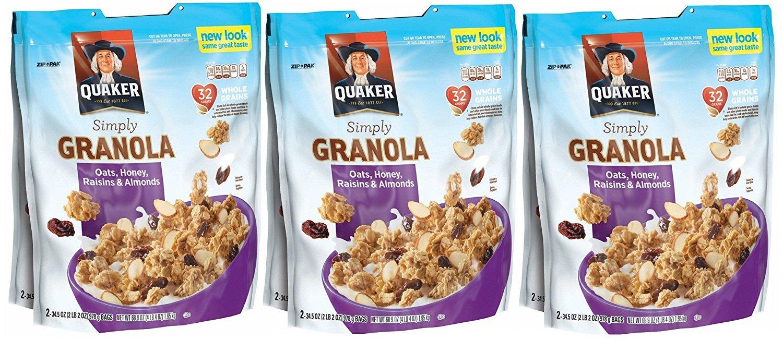 3 X Quaker Natural Granola Oats, Honey, Raisins and Almonds - Two 34.5oz Bags