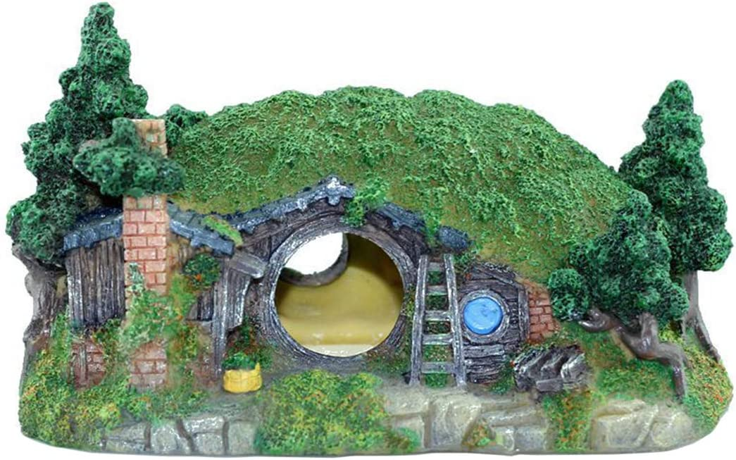 XiR Aquarium Decorations Castle Hiding Cave Hobbit House for Reptiles Fish Tank Decor Ornament