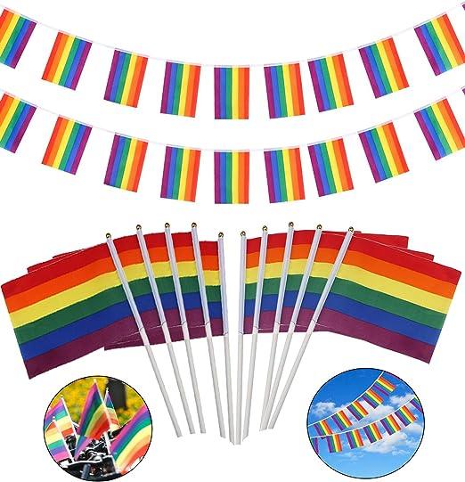 20 Piezas Rainbow Bandera peque/ña para LGBT Pride Desfile Festival Decoraciones vamei Rainbow Lesbiana Bandera del Orgullo Gay con 1 Pieza Banderas de Bandera Gay