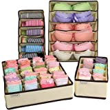 MCIRCO Foldable Closet Organizers for Handkerchiefs, Underwear, Bras, Socks and Neck Ties Collapsible Organizer Storage Boxes (Set of 4) by Mcirco