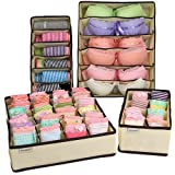 MCIRCO Foldable Drawer Organisers for Handkerchiefs, Underwear, Bras, Socks and Neck Ties Collapsible Organizer Storage Boxes (Set of 4)
