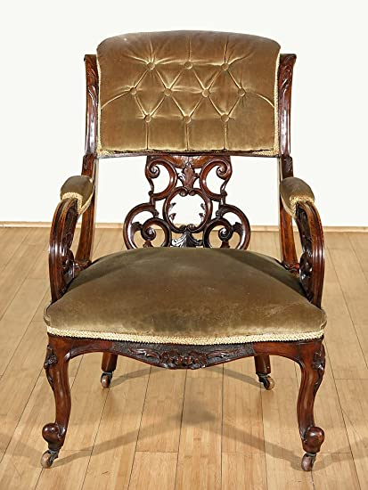 c1850 Antique Walnut Carved Upholstered Occasional Arm Chair - Amazon.com - C1850 Antique Walnut Carved Upholstered Occasional Arm