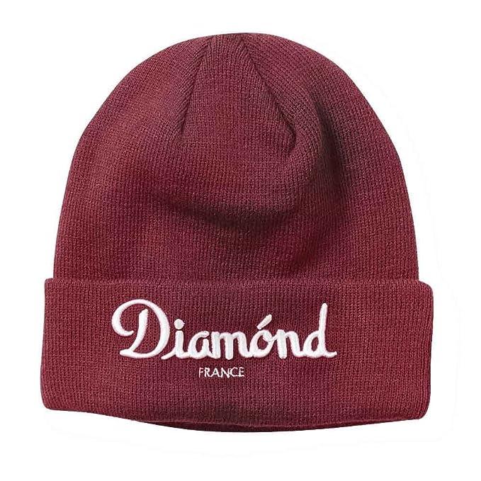 size 40 a0c31 d795e Diamond Supply Co Champagne Beanie Burgundy  Amazon.co.uk  Clothing
