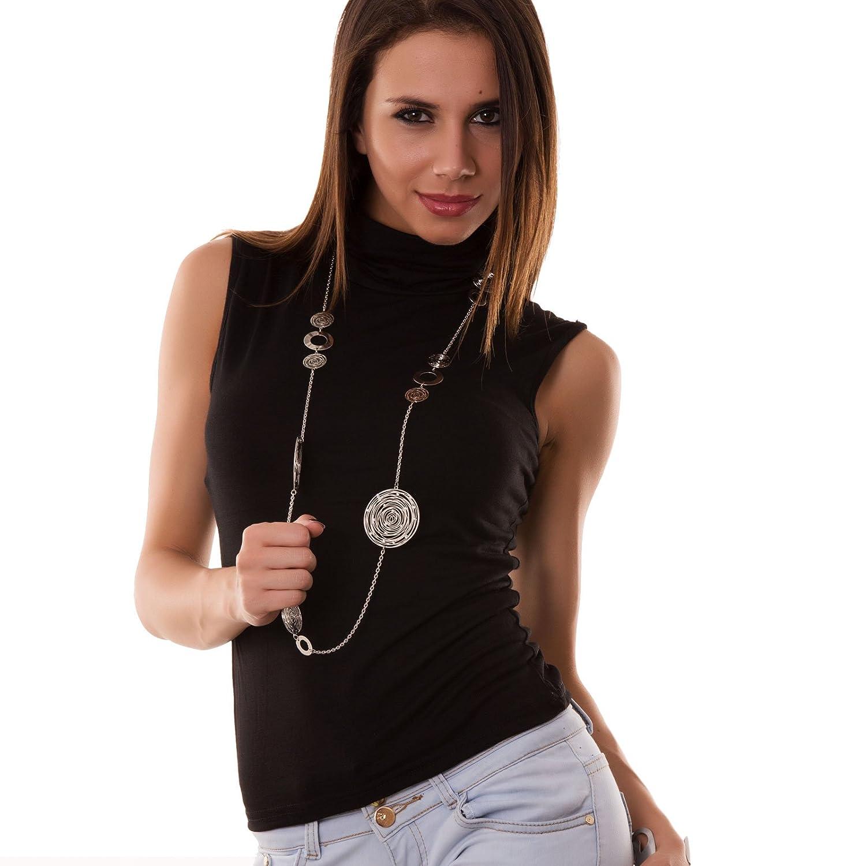 Lupetto smanicato donna collo alto dolcevita sottogiacca top maglia CC25 CC-25_B