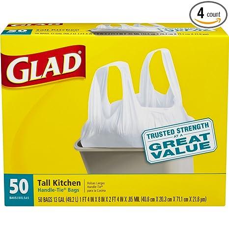 glad tall handle tie kitchen trash bags 13 gallon 50 count 4 - Tall Kitchen Trash Bags