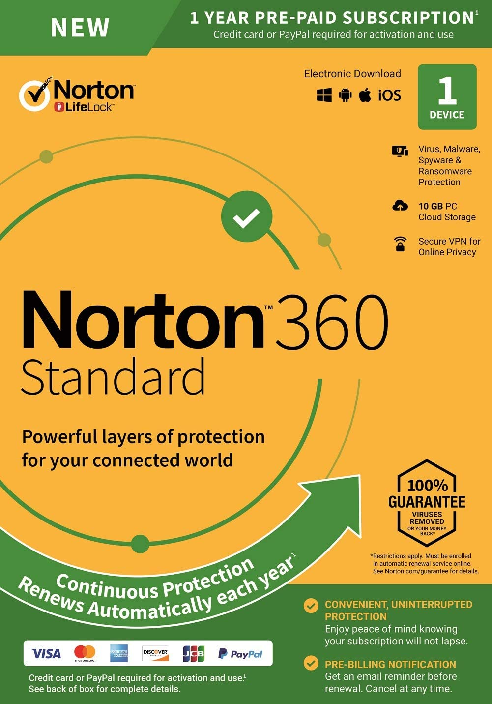 Norton 360 Standard – Antivirus Software for 1 Device with Auto Renewal – Includes VPN, PC Cloud Backup & Dark Web Monitoring powered by LifeLock - 2020 Ready [Key Card]