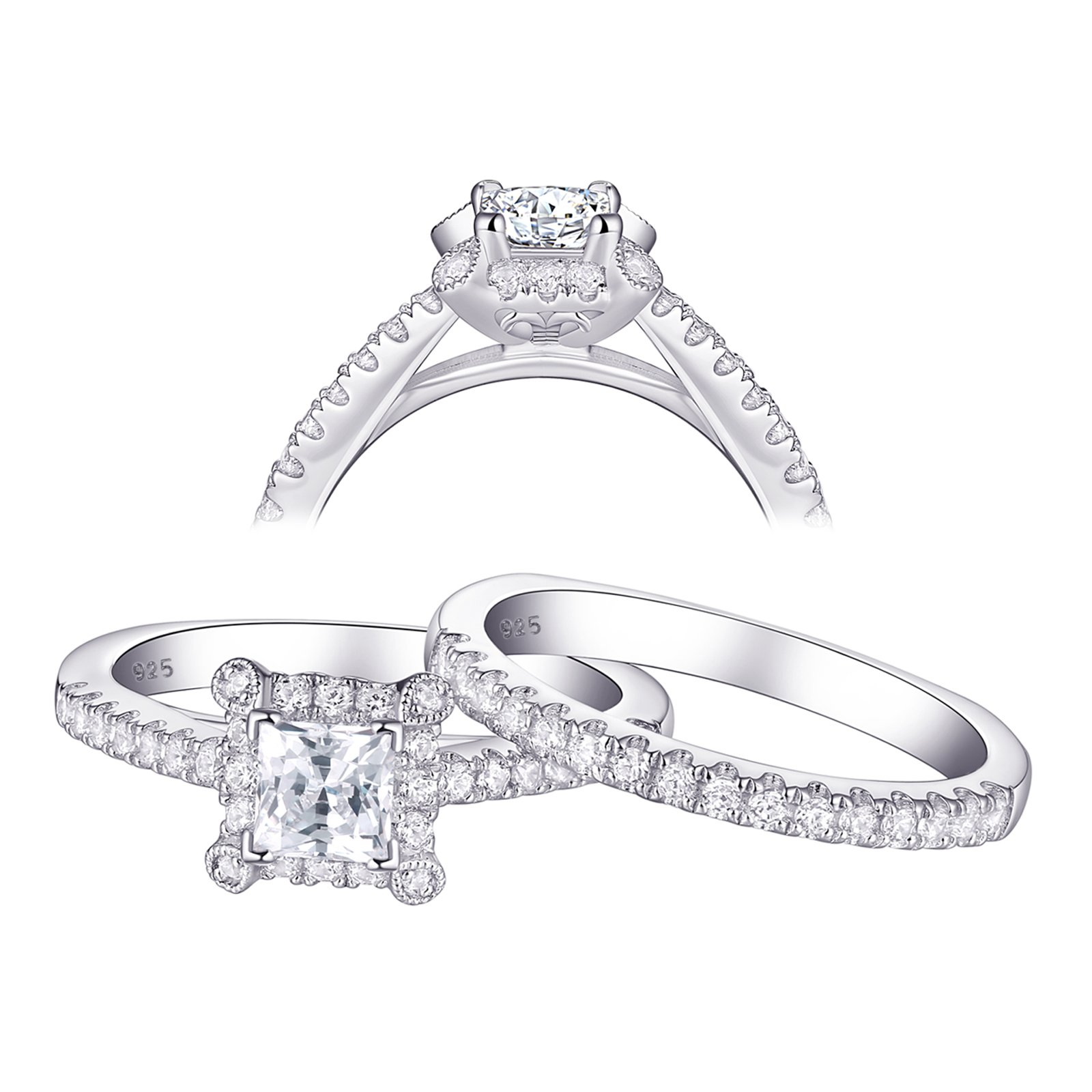 Newshe Jewellery Wedding Band Engagement Ring Set For Women 925 Sterling Silver Princess White AAA Cz 1ct Size 9