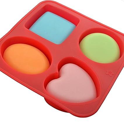 Moldes para hornear de silicona, moldes de jabón, círculo cuadrado molde corazón ovalado 1 piezas con 4 cavidades: Amazon.es: Hogar