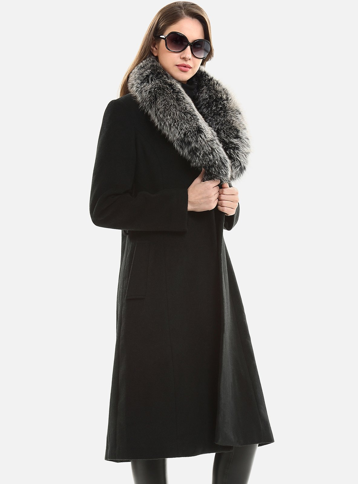 Escalier Women`s Wool Trench Belt Long Coat with Fur Collar Black 4XL by Escalier (Image #4)